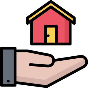 Cartoon hand holding a floating red and yellow cartoon house